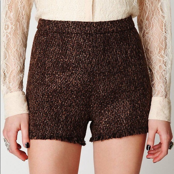 Free People High Waisted Textured Shorts Tweed Nwt